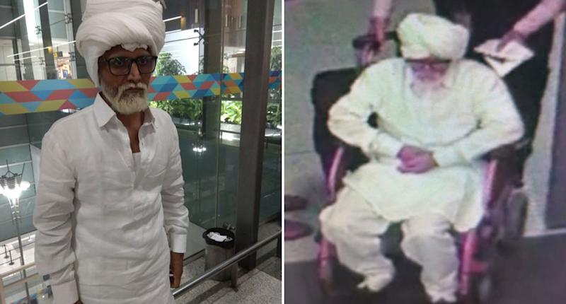 Jayesh Patel, 32, with a beard and in a wheelchair disguised as an old man in his 80s.