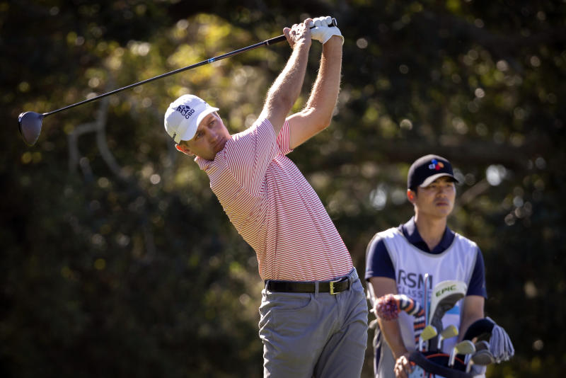 Brendon Todd watches is tee shot on the second hole during the third round of the RSM Classic golf tournament in St. Simons Island, Ga., Saturday, Nov., 23, 2019. (AP Photo/Stephen B. Morton)