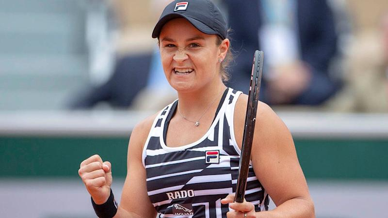 Ashleigh Barty celebrates her win against Amanda Anisimova. (Photo by Tim Clayton/Corbis via Getty Images)