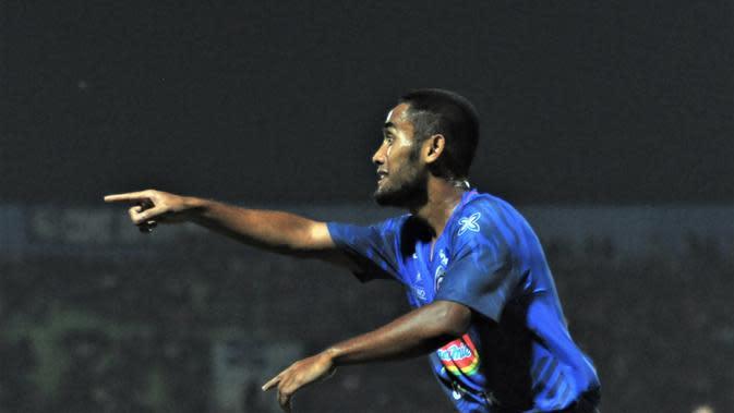 Pemain Arema FC, Agil Munawar. (Bola.com/Iwan Setiawan)