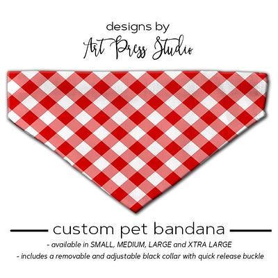 Custom Buffalo Red Personalized Dog Bandana Tie On Bandana Red Plaid Dog Bandana