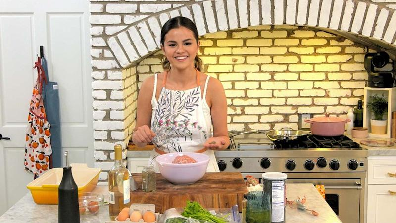 Selena Gomez cooks at home on her new show Selena + Chef. Image courtesy of HBO Max.