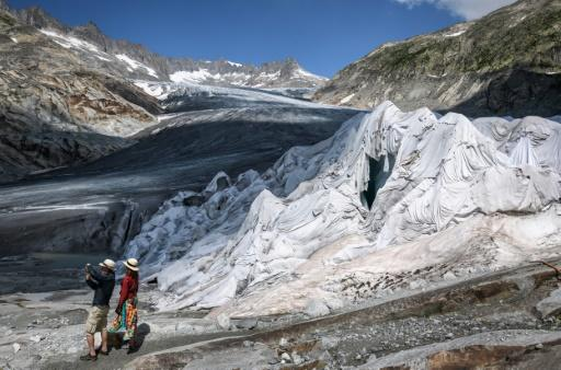 Part of the Rhone Glacier is covered with insulating foam to prevent it from melting during the August 2018 heatwave that swept across northern Europe