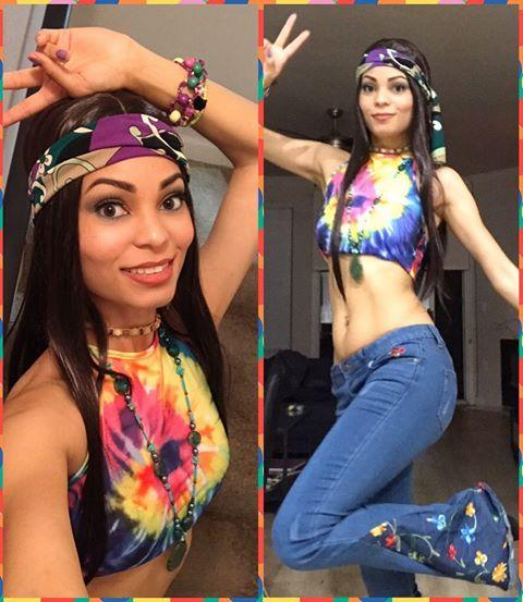 """<p>We're loving this cute DIY-ed costume complete with halter top, layered necklaces, embroidered bell bottoms, and a pretty silk scarf.</p><p><a href=""""https://www.instagram.com/p/B4F9aqRnXfn/&hidecaption=true"""">See the original post on Instagram</a></p>"""