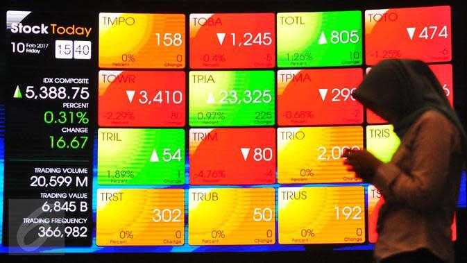Pengunjung melintasi layar pergerakan saham di Bursa Efek Indonesia, Jakarta, Jumat (10/2). (Liputan6.com/Angga Yuniar)
