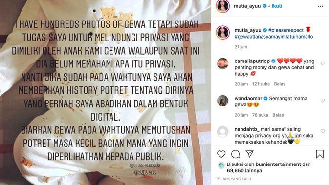 Unggahan Mutia Ayu (instagram,com/mutia_ayuu)