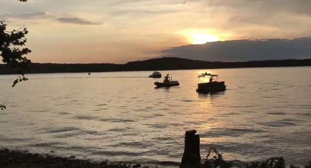 PHOTO: A handout frame grab made available by the Southern Stone County Fire Protection District shows responding agencies after an amphibious duck boat reportedly capsized on Table Rock Lake in Branson, Mo., July 19, 2018. (Southern Stone County Fire Protection District/EPA/Rex/Shutterstock)