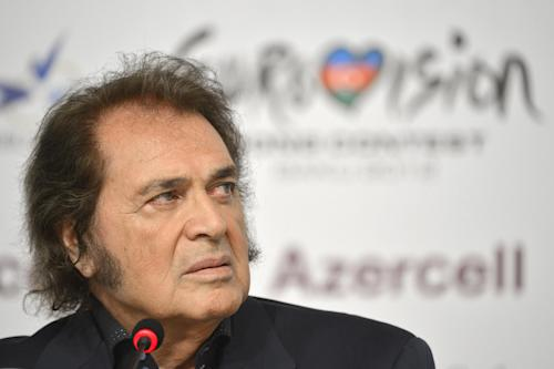 "This Sunday, May 20, 2012 photo shows British participant of the Eurovision Song Contest, singer Engelbert Humperdinck as he talks to journalists during a news conference in Baku, Azerbaijan. The annual Eurovision Song Contest, takes place on Saturday, May, 26. 2012 is a televised pan-European extravaganza viewed by some 125 million people worldwide that is now entering its 57th year. The winner is picked by juries and television viewers across the continent. Humperdinck had turned 20 and was already a seasoned pop performer by the time the first Eurovision Song Contest was held _ in 1956. Amid all of Eurovision's hyper-kinetic dance and pop acts, the 76-year-old's ""Love Will Set You Free"" stands out as good old-fashioned crooning. (AP Photo/dapd, Joern Haufe)"