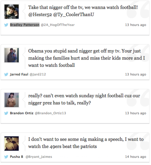 Obama Speech During NFL Game Fuels Twitter Racism: 'Take That N----- Off the TV'