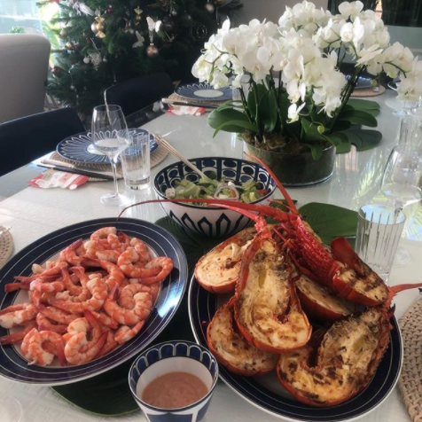 Roxy's a big fan of grilled prawns for lunch, as well as the salads from Chargrill Charlie's. Photo: Roxy Jacenko Instagram
