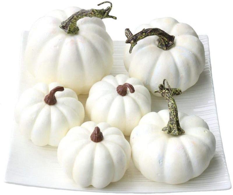 Gresorth 6 PCS Fake White Pumpkins Fall Autumn Halloween