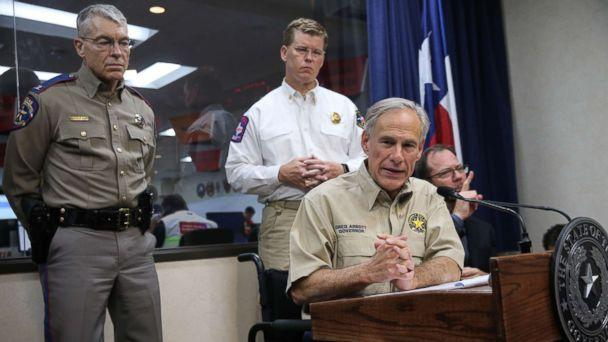 PHOTO: Texas Governor Greg Abbott gives a briefing at the State of Texas Emergency Command Center at Department of Public Safety headquarters in Austin, Texas as they monitor Hurricane Harvey Saturday morning, Aug. 26, 2017. (Ralph Barrera/Austin American-Statesman via AP)