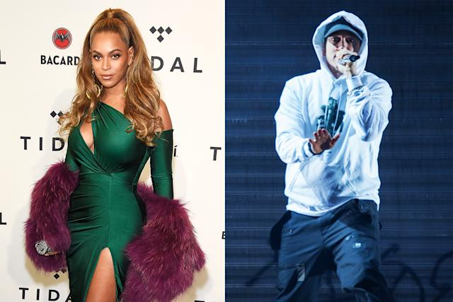 Eminem is under fire for a new song with Beyoncé that includes a slur. (Photo: Getty Images)
