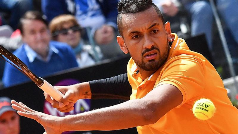 Nick Kyrgios' recent antics have been savaged by former golfer Paul Gow, who wrote him off as 'a brat'. (Photo by Andreas SOLARO /AFP/Getty Images)