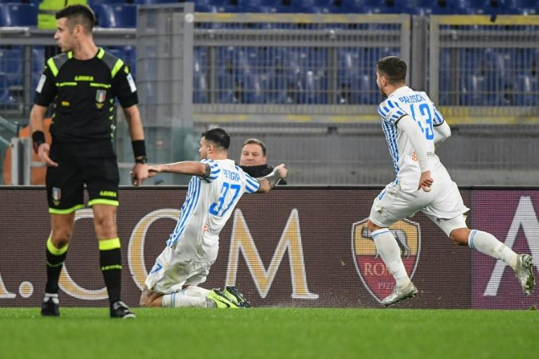 Spal's Andrea Petagna (L) scored a penalty awarded despite the VAR monitor not working