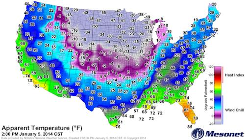 'Polar Vortex' Creates Huge Temperature Difference Across US