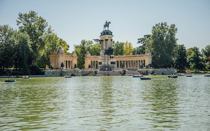 Retiro Park's lake is a popular spot for rowboats, especially in the summer