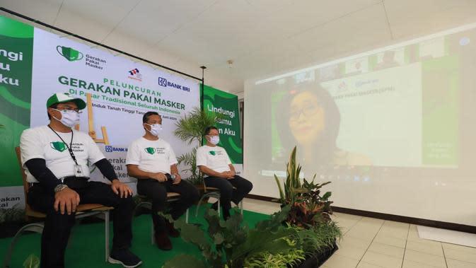 Gerakan Pakai Masker secara virtual diresmikan di pasar Tanah Tinggi, Kota Tangerang, Provinsi Banten pada Sabtu (27/06/20120).