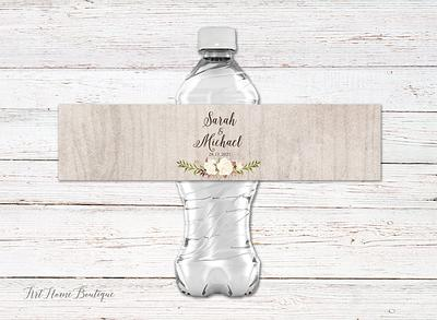 Instant Download ASHLEY Collection Boho Dusty Blue /& Gray Floral Printable Water Bottle Label