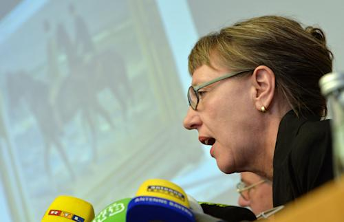 Expert and art historian Meike Hoffmann from the Berlin Free University speaks during a news conference in Augsburg, southern Germany, Tuesday, Nov. 5, 2013, on the art found in Munich. A hoard of more than 1,400 art works found last year at a Munich apartment includes previously unknown pieces by artists including Marc Chagall, German investigators said Tuesday, adding that they face a hugely complicated task to establish where the art came from. (AP Photo/Kerstin Joensson)