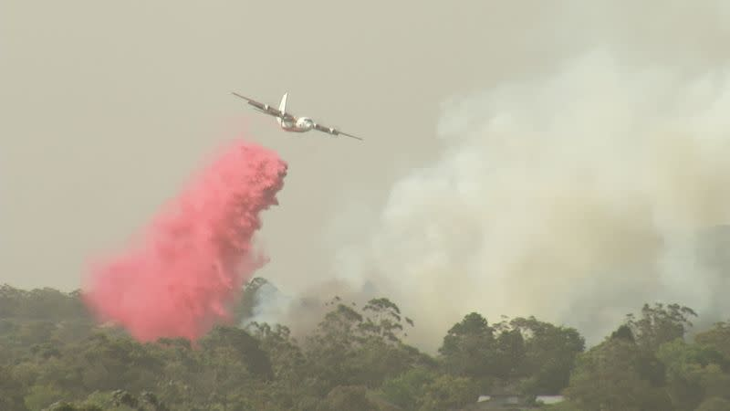 A plane releases fire retardant over forest during bushfires in South Turramurra