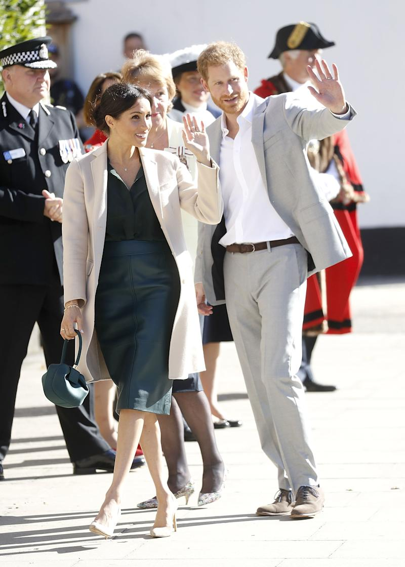 A photo of Meghan, Duchess of Sussex and Prince Harry, Duke of Sussex on an official visit to Sussex on October 3, 2018 in Chichester, United Kingdom.