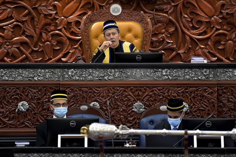 Dewan Rakyat Speaker Datuk Azhar Azizan Harun also reminded MPs to wear face masks at all times when seated in the Dewan Rakyat and only to remove them when they wish to speak. — Bernama pic