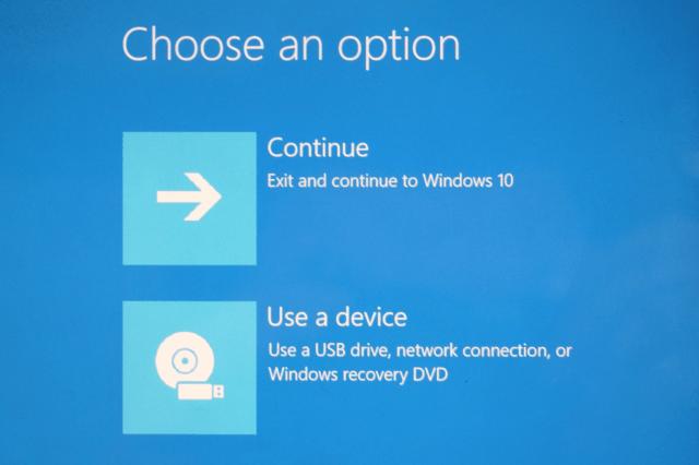 uninstall windows 10 use a device screen