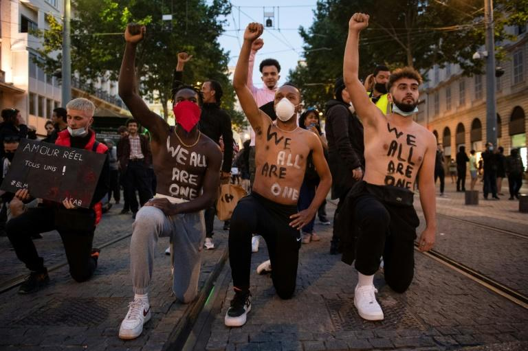 A protest in Marseille last week -- just one of numerous recent demonstrations against racism and police brutality in France