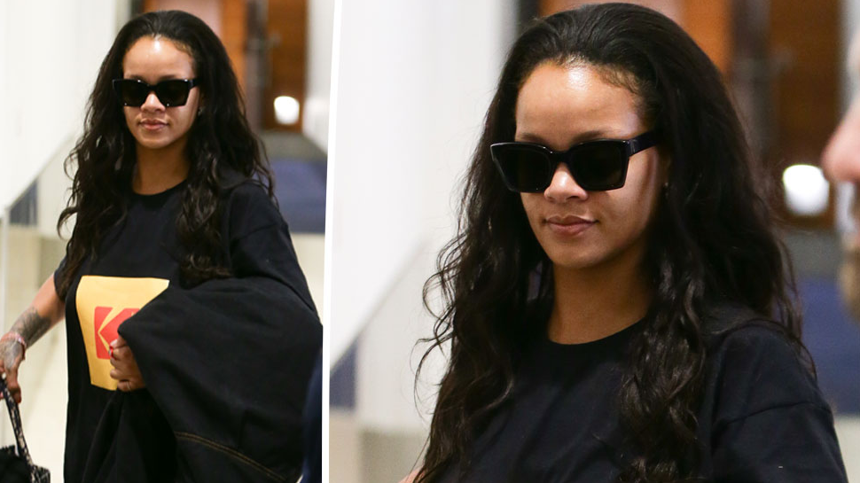 <p>Hot off her trip to Singapore, RiRi has landed Down Under.<br />Source: Mega </p>