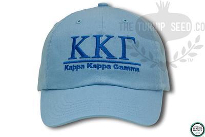 Kappa Kappa Gamma Handwriting Script Sorority Baseball Cap Custom Color Hat and Embroidery