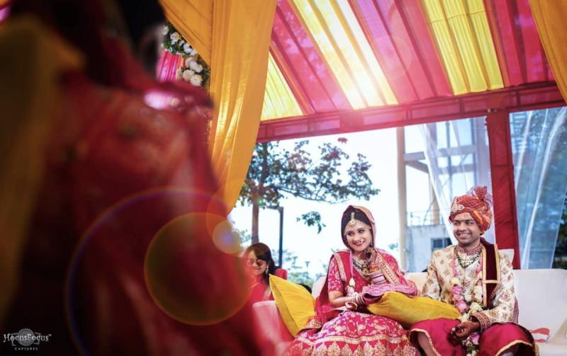 Abhilasha wearing a wedding lehnga. [Photo: hocusfocuscaptures]