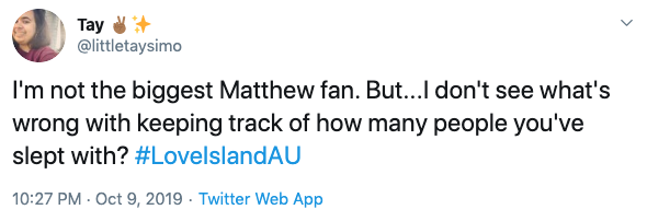 Viewers react to Love Island star Matthew's sex confession. Photo: Twitter.