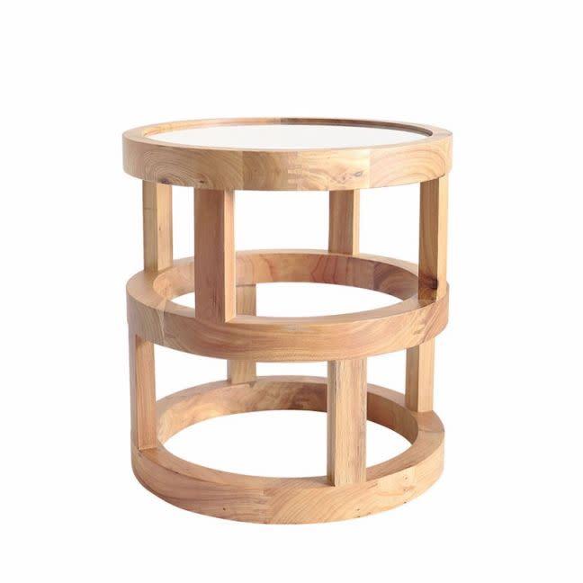 The block shop Arlo Side Table Elm Wood by Black Mango