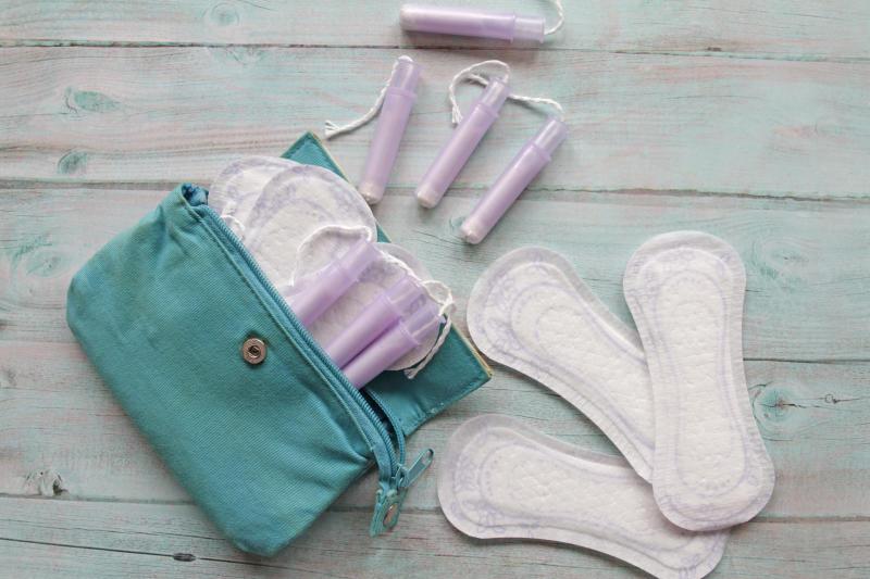 Menstrual bag with cotton tampons and sanitary pads