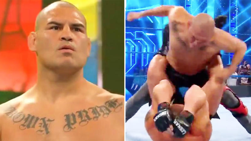 Cain Velasquez, pictured here attacking Brock Lesnar on Smackdown. Image: WWE