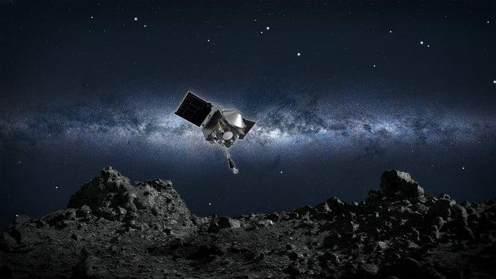 This artist's concept shows NASA's OSIRIS-REx spacecraft descending towards asteroid Bennu to collect a sample of the asteroid's surface.