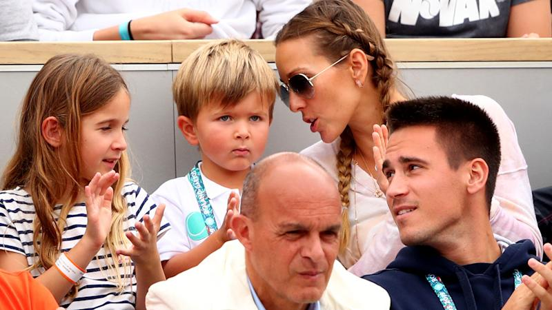 Jelena and Stefan Djokovic at the 2019 French Open watching Novak. (Photo by Clive Brunskill/Getty Images)