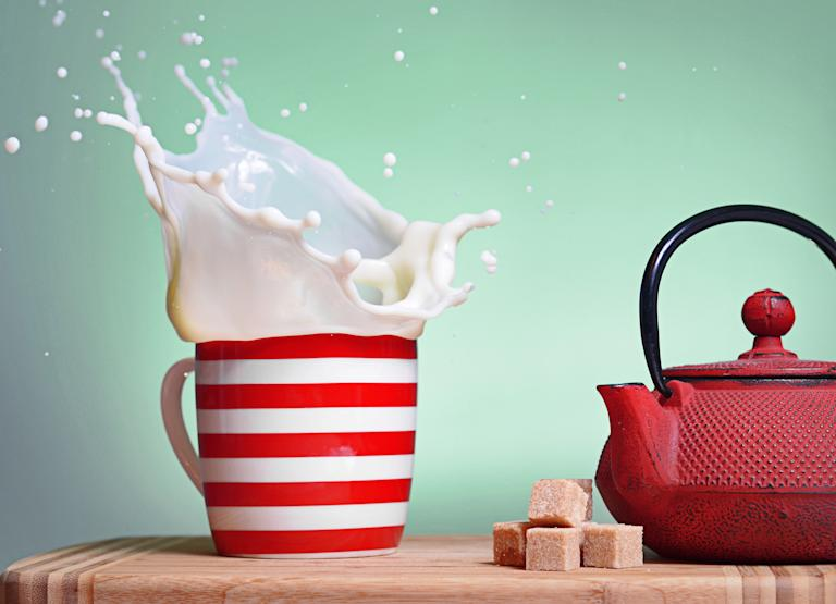 'Split Second' winner: Matías Gálvez, Chile. Milk explodes in a striped red mug in 'Splash' (Sony World Photography Awards)