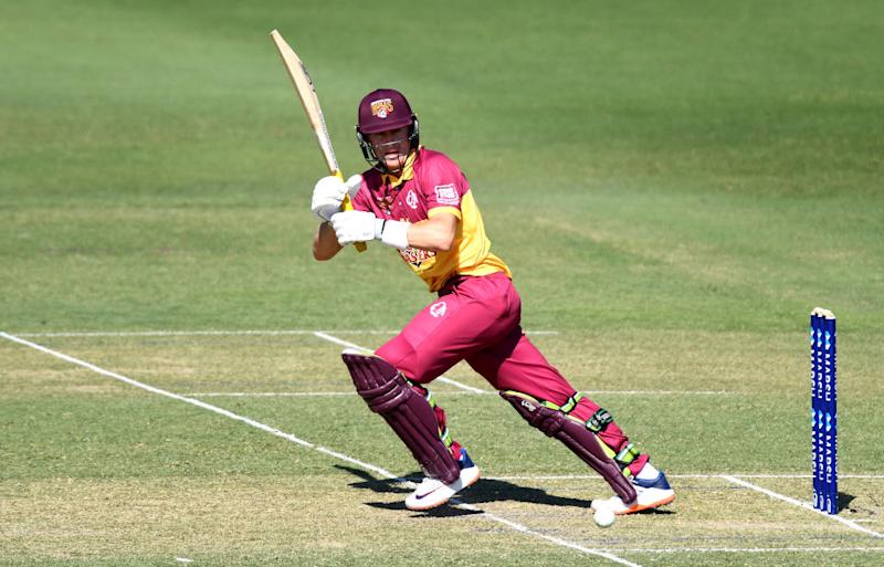 Marnus Labuschagne of Queensland plays a shot during the Marsh One Day Cup match between Queensland and New South Wales at Allan Border Field on September 22, 2019 in Brisbane, Australia. (Photo by Bradley Kanaris/Getty Images)