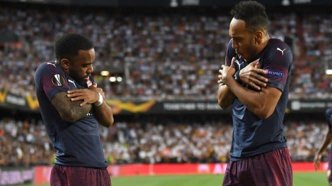 Penyerang Arsenal, Pierre-Emerick Aubameyang dan Alexandre Lacazette