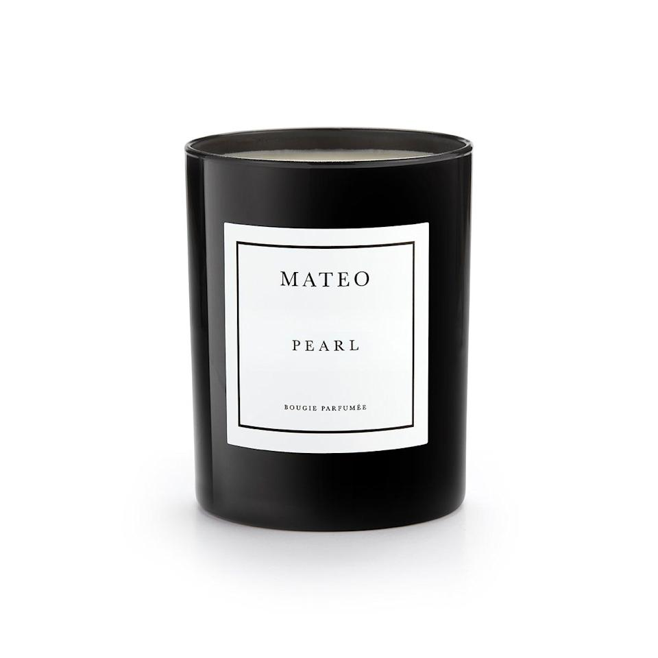 """<p><strong>Mateo New York</strong></p><p>mateonewyork.com</p><p><strong>$55.00</strong></p><p><a href=""""https://mateonewyork.com/collections/candles/products/pearl"""" target=""""_blank"""">Shop Now</a></p><p>This minimalist candle can effortlessly blend into any room from his office to his man cave. Founder, Matthew Harris, is a self-taught jewelry designer but his collection of candles are just as elevated and luxurious.</p>"""