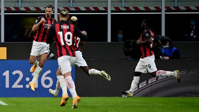 Zlatan Ibrahimovic kembali tunjukkan ketajamannya di duel derby melawan Inter Milan (AFP)