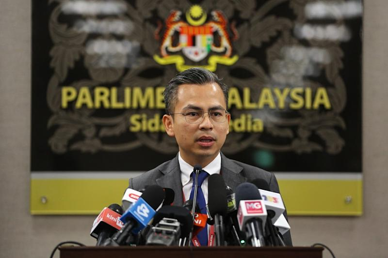 Lembah Pantai MP Fahmi Fadzil speaks during a press conference at Parliament in Kuala Lumpur July 23, 2020 — Picture by Yusof Mat Isa