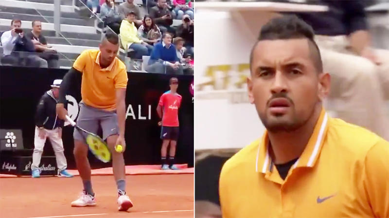 Italian Open: Nick Kyrgios serves underarm during win over Daniil Medvedev