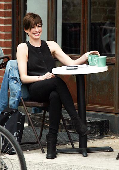 Anne Hathaway is all smiles on the set of 'Song One' in New York