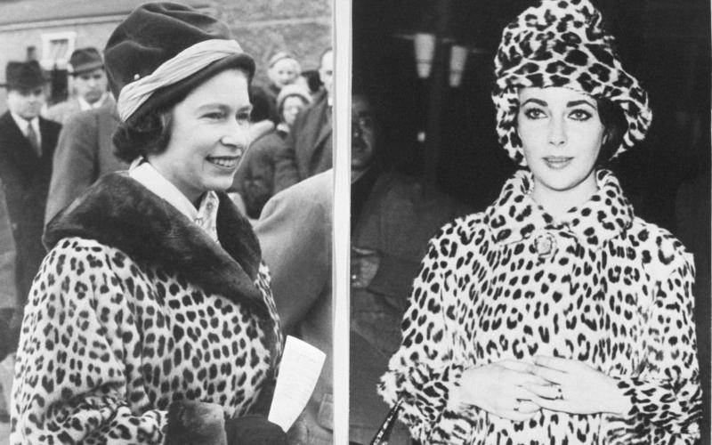 Queen Elizabeth and Elizabeth Taylor wear leopard skin coats - Getty