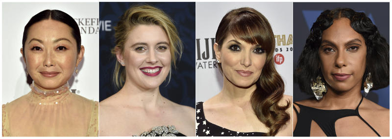 """This combination photo shows, from left, Lulu Wang, director of """"The Farewell,""""  Greta Gerwig, director of """"Little Women,"""" Lorene Scafaria, director of """"Hustlers,"""" and Melina Matsoukas, director of """"Queen & Slim."""" Women directed 12 of 2019's top 100-grossing films in 2019, according to a study released Thursday by USC Annenberg Inclusion Initiative Female filmmakers. (AP Photo)"""