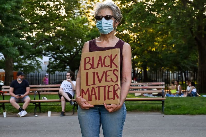 FILE PHOTO: Protest against racial inequality in aftermath of death in Minneapolis police custody of George Floyd, in New York