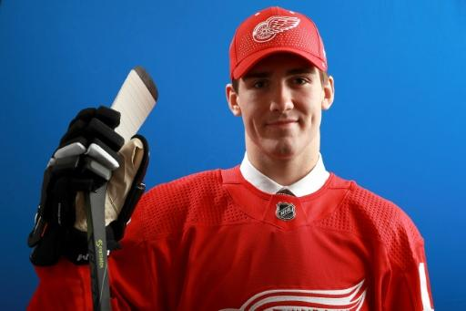 Filip Zadina poses after being selected sixth overall by the Detroit Red Wings during the first round of the 2018 NHL Draft, at American Airlines Center in Dallas, Texas, on June 22